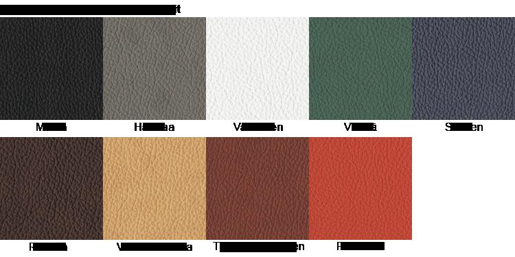 Ergonea satulatuolin nahkavärit ovat punainen sininen ruskea musta valkoinen vihreä ja harmaa