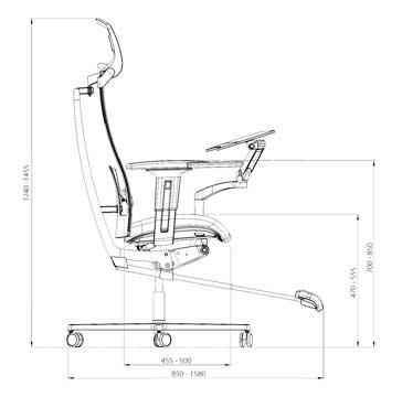 Ergonominen työtuoli ja työpiste mPosition mitat sivusta sekä ergonomisten työtuolien profiili