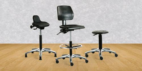Kestävä teollisuustuoli, korkea laboratoriotuoli ja työjakkara on hygieninen ja ergonominen työtuoli puhdastilaan